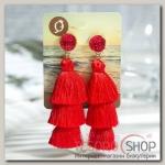 Серьги Кисти ванесса, цвет красный, L кисти 5,5 см - бижутерия