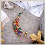 Серьга Каффа россыпь камней, цветная - бижутерия