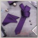 """Набор мужской """"Элит"""" галстук 145x5см, платок, запонки, квадрат, цвет фиолетовый - бижутерия"""