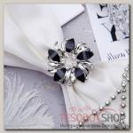 """Кольцо для платка """"Цветок"""", круг, цвет черный в серебре"""