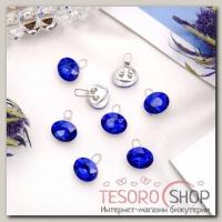 Зажим для волос Роскошь (набор 8 шт) синий овал - бижутерия