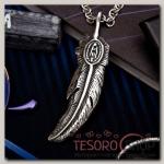 Кулон мужской Стальной перо, цвет серебро, 50 см - бижутерия