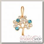 Подвеска Дерево жизни, позолота, цвет бело-голубой - бижутерия