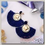 Серьги Кисти арабика, цвет синий в золоте - бижутерия