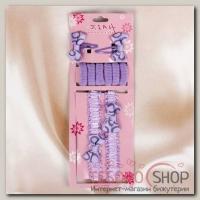 Набор для волос Женечка (2 заколки, 2 повязки, 6 резинок), сиреневый бантик, круги - бижутерия