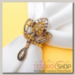"""Кольцо для платка """"Трилистник"""" с подвеской, цветное в черненом золоте"""