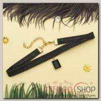 Чокер Стиль джинс прямоугольник, цвет чёрно-белый в золоте - бижутерия