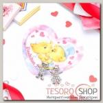 """Набор серьги+открытка, """"Мальчик и девочка"""", цвет белый в серебре - бижутерия"""