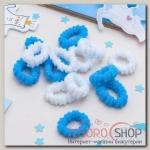 """Резинка для волос """"Махрушка"""" (набор 144 шт) белые, голубые - бижутерия"""