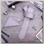 """Набор мужской """"Элит"""" галстук 145x5см, платок, запонки, полосы тонкие, цвет серый - бижутерия"""