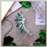 Серьга Каффа лучи, цвет бело-зелёный в серебре - бижутерия