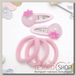 Набор для волос Карамелька (2 невидимки, 3 резинки) ягодки, розовый - бижутерия
