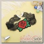 Чокер Роуз ажурное плетение, крупный цветок, цвет красно-зелёный в чёрном - бижутерия