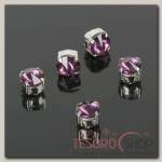 Стразы в цапах (набор 5 шт), 6x6мм, цвет фиолетовый в серебре