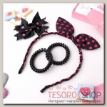 Набор для волос Солоха (ободок, 2 резинки, зажим) розовый горошек - бижутерия