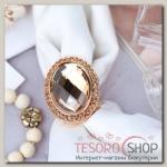 """Кольцо для платка """"Кристалл"""" овал, цвет коричневый в золоте"""