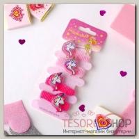 Резинка для волос Волшебство (набор 4 шт) грива единорога, розовый - бижутерия