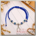Браслет-оберег Ряд бусин подкова, цвет синий - бижутерия