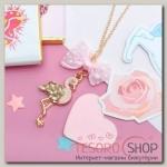 """Кулон детский """"Выбражулька"""" фламинго с бантом, цвет розовый в золоте - бижутерия"""
