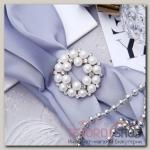 Зажим для платка Жемчужинка, цвет белый в серебре