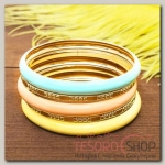 Браслет-кольца 5 колец Яркий день, цветной в золоте - бижутерия