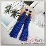 Серьги Кисти монро, цвет синий, L кисти 15 см - бижутерия