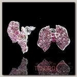 Серьги со стразами Бантики, цвет сиренево-розовый в серебре - бижутерия