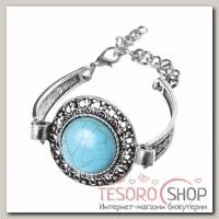 Браслет ассорти Бирюзовый мир круг, цвет голубой в серебре - бижутерия