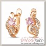 Серьги Орхидея, позолота, цвет розовый - бижутерия