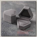 Футляр под кольцо Кристалл, 6x6, цвет серый - бижутерия