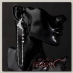 Серьги висячие со стразами Изабелла, цвет белый в серебре - бижутерия