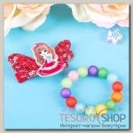 Набор детский Выбражулька 2 предмета: заколка, браслет, девочка со щенком, цвет МИКС - бижутерия