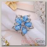 """Кольцо для платка """"Цветок магнолия"""", цвет синий в серебре"""