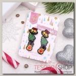 Пусеты 3 пары Новогоднее ассорти олень, ёлка, колокольчик, цветные - бижутерия