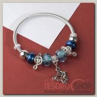 Браслет ассорти Марджери, подвеска МИКС, цвет синий в серебре - бижутерия