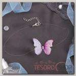 Чокер Butterfly на леске, цвет бело-розовый в серебре - бижутерия