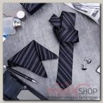 """Набор мужской """"Элит"""" галстук 145x5см, платок, запонки, полоски, цвет серебристо-черный - бижутерия"""