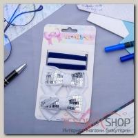 Набор для волос Лаура 5 шт ( 3 резинки, 2 невидимки) бантики пайетки белые - бижутерия