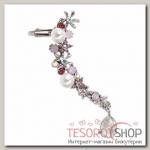 Серьга Каффа цветы с каплей, цвет бело-розовый в серебре - бижутерия