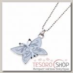 Кулон Выбражулька бабочка, цвет белый - бижутерия