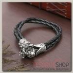 Браслет мужской Петля дракон, цвет чёрный в чернёном серебре - бижутерия