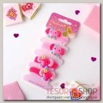 Резинка для волос Весёлый глянец (набор 4 шт) слоники, розовый - бижутерия