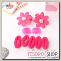 Набор для волос Софи (7 резинок, 2 краба) цветочки, красный - бижутерия