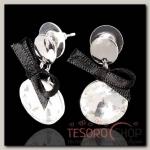 Серьги ассорти Круг с бантом, цвет бело-чёрный в серебре - бижутерия