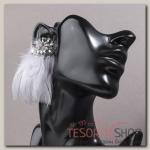 Серьги перья Полема, цвет серый - бижутерия