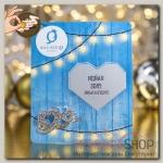 Брошь новогодняя Предсказание сердечки, цвет белый в серебре + Открытка со скретч-слоем