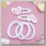 Набор для волос Мусечка (2 невидимки, 3 резинки) сердечки, белый - бижутерия