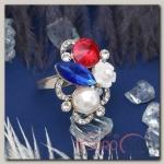 Кольцо Летнее настроение, цветное в серебре, размер 17,18,19 микс