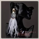 Серьги перья Мираж вальс, цвет серый - бижутерия