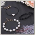 Браслет жемчуг Романтик чокерное плетение, набор 3 штуки, цвет бело-чёрный в золоте - бижутерия